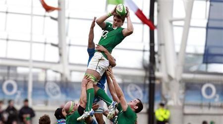 Ireland's Henderson wins the ball against Italy in their Six Nations rugby union match at Aviva stadium in Dublin