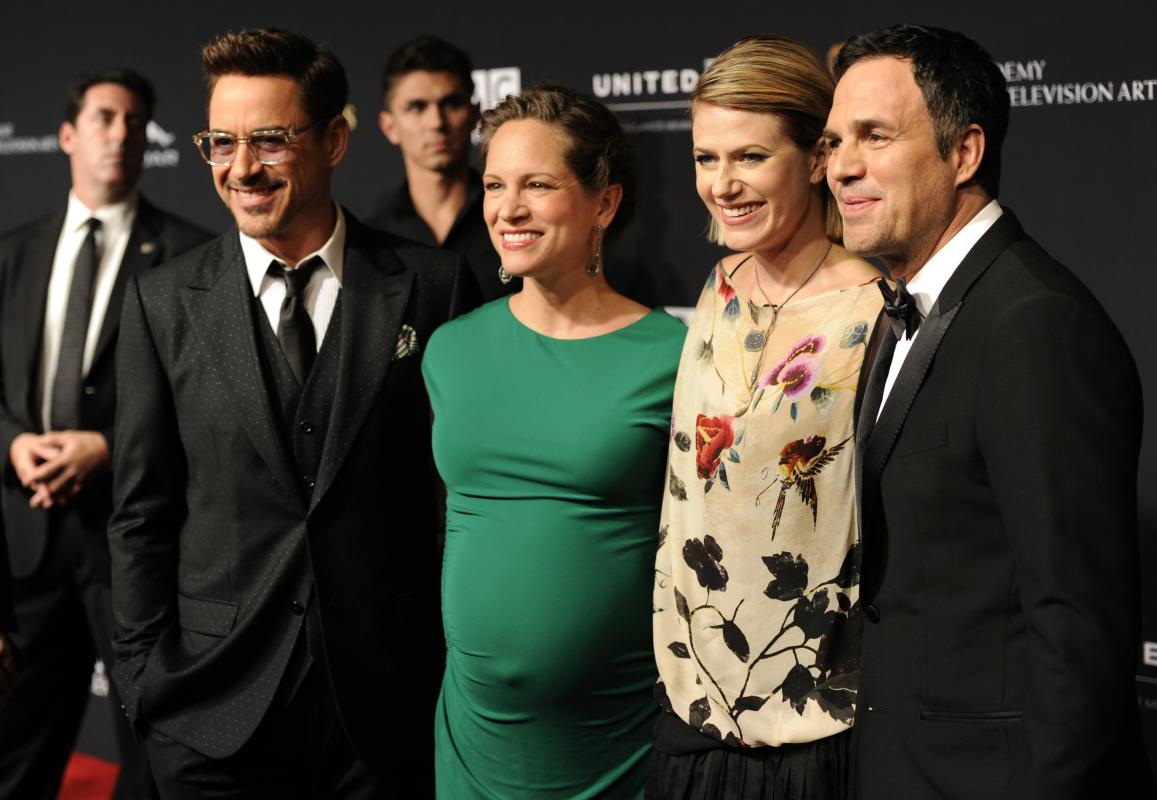 Robert Downey Jr., from left, Susan Downey, Sunrise Coigney and Mark Ruffalo arrive at the BAFTA Los Angeles Britannia Awards at the Beverly Hilton Hotel on Thursday, Oct. 30, 2014, in Beverly Hills, Calif. (Photo by Chris Pizzello/Invision/AP)