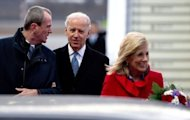 US Ambassador to Germany Philip D Murphy (L) welcomes US Vice President Joe Biden (C) and his wife Jill Biden at the Tegel military airport in Berlin on February 1, 2013. Biden on Friday warned Iran that opportunities for diplomacy over its disputed nuclear programme were not unlimited but offered direct talks between Washington and Tehran