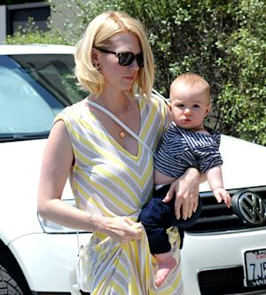 PIC: January Jones, Adorable Son Xander Relax Poolside