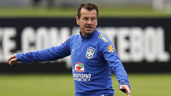Brazilian national soccer team head coach Dunga gestures during training session in Teresopolis