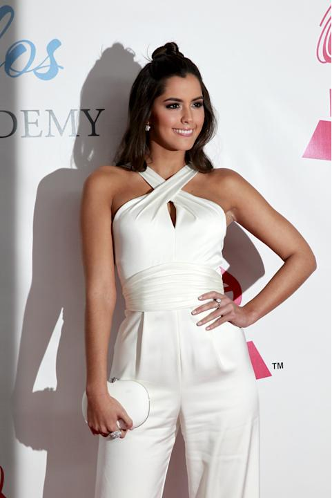 Miss Universe 2014 Paulina Vega of Colombia arrives at the 2015 Latin Recording Academy Person of the Year Tribute to Roberto Carlos in Las Vegas