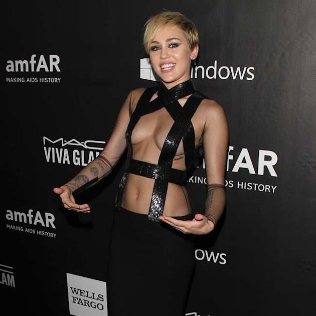 Miley Cyrus flashes the flesh in LA