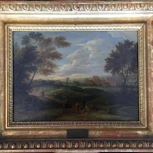 "This image provided by the Monuments Men Foundation shows a Franz de Paula Ferg oil on panel painting titled ""Landscape with Staffage."" The painting, one of five missing since World War II, are being returned to collections in Germany at the behest of the heirs of their American acquirers. The painting was won by an American GI in a poker game and had been stored in a potassium mine for safekeeping during the war are from an art gallery in the central German city of Dessau. The GI then mailed the painting home to his wife. (Anna Bottinelli/Monuments Men Foundation via AP)"