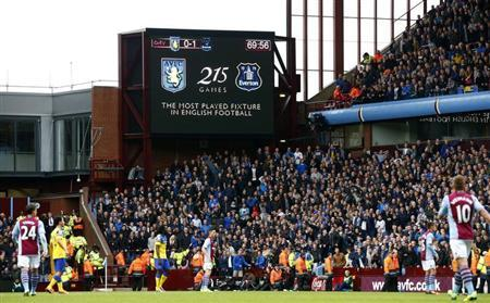 A screen informs the crowd of the most played fixture as Aston Villa play Everton in their English Premier League soccer match in Birmingham