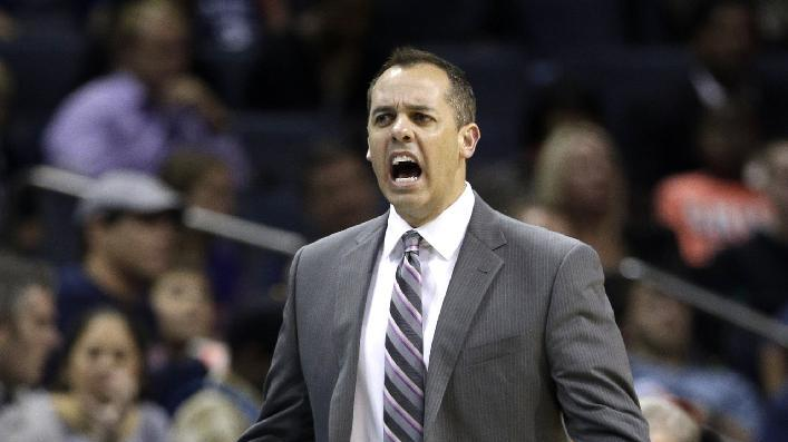 Indiana Pacers head coach Frank Vogel argues a call during the second half of an NBA basketball game against the Charlotte Bobcats in Charlotte, N.C., Wednesday, Nov. 27, 2013. The Pacers won 99-74
