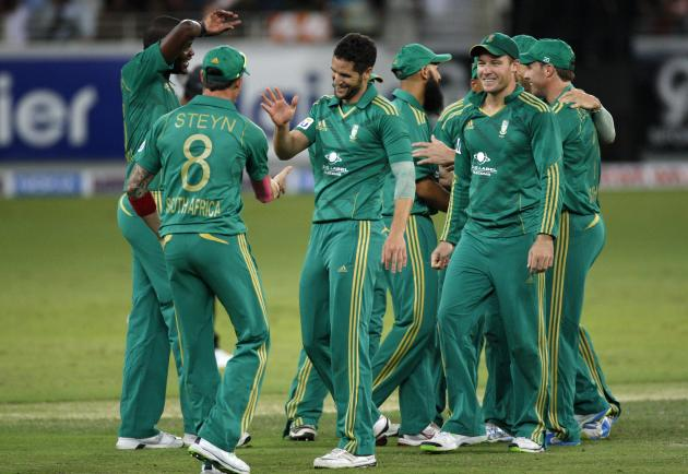 South Africa's Wayne Parnell celebrates with his team mates the wicket of Pakistan's Mohammad Hafeez during their second Twenty20 international cricket match in Dubai