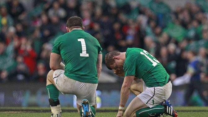 Ireland's Healy and O'Driscoll react during International rugby union match against New Zealand in Dublin