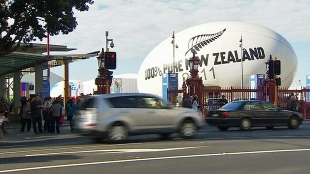 Giant Rugby Ball Lands In Christchurch