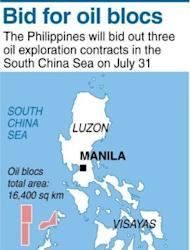 A map of the Philippines locating the three oil exploration contracts in the South China Sea that will be bidded out on July 31, according to an official