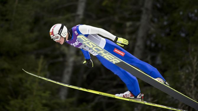 Portyk of Czech Republic soars through the air during the WC Nordic combined competition in Trondheim