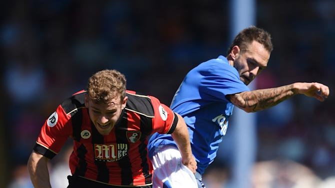 Portsmouth's Milan Lalkovic in action with Bournemouth's  Ryan Fraser