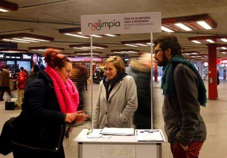 Activists of the opposition Momentum Movement collect signatures to force a referendum on the country's Olympic plans as Budapest bids for the 2024 Olympic Games, in central Budapest
