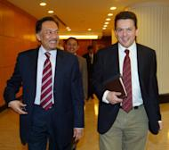 "Nick Xenophon (R) with opposition leader Anwar Ibrahim in Kuala Lumpur in 2010. Malaysia detained Australian politician Xenophon at Kuala Lumpur airport Saturday, branding him a ""prohibited immigrant"" ahead of his expected deportation, in a move Canberra described as ""disappointing"""