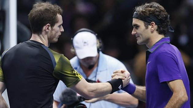 Britain's Andy Murray shakes hands with Switzerland's Roger Federer following their men's singles semi-final tennis match at the ATP World Tour Finals at the O2 Arena in London (Reuters)