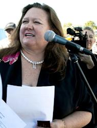 The world's richest woman Gina Rinehart, pictured in 2010, has boosted her stake in ailing Australian media giant Fairfax to 18.67 percent as she bids to win a board seat, it was revealed Monday
