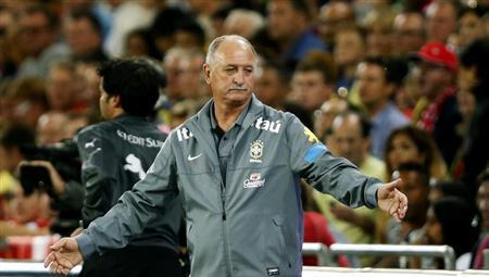 Brazilian soccer coach Luiz Felipe Scolari reacts during their international friendly soccer match against Switzerland at the St. Jakob-Park stadium in Basel