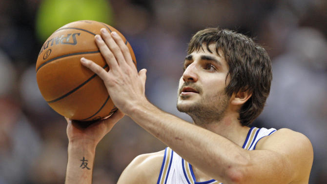 Minnesota Timberwolves guard Ricky Rubio shoots a free throw during their NBA game against Los Angeles Clippers
