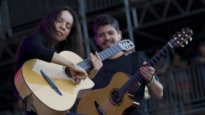 Rodrigo Y Gabriela and C.U.B.A. perform during the Bonnaroo Music and Arts Festival in Manchester, Tenn., Friday, June 8, 2012. (AP Photo/Dave Martin)