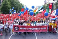 "Activists take part in the Keep the Promise Alive 2012 AIDS march in Washington DC on July 22. Science has given the world ""no excuse"" to resist bold action against the spread of the 30-year AIDS pandemic, said a top US expert at the opening of the International AIDS Conference"