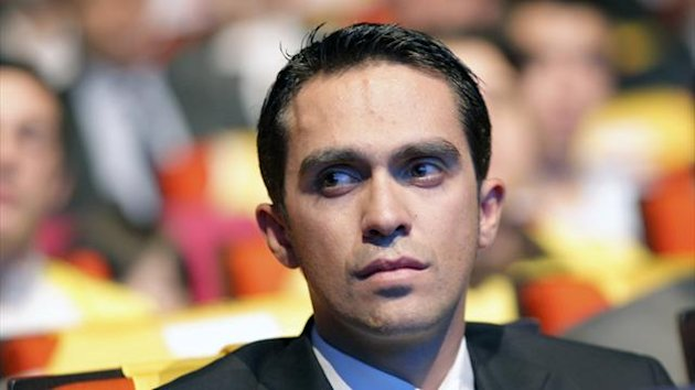 Alberto Contador of Spain, attends the presentation of the hundredth edition of the Tour de France cycling race, in Paris, Wednesday, Oct. 24, 2012, The race wil starts on June, 29, 2013 and arrive in Paris on July, 21.(AP Photo/Christophe Ena)