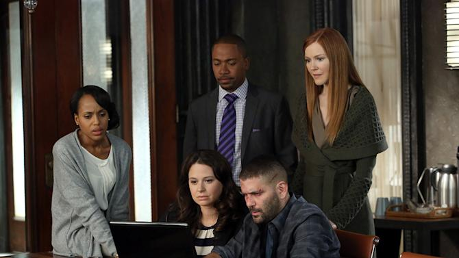 """""""Scandal"""" -- """"Truth or Consequences"""" KERRY WASHINGTON, KATIE LOWES, COLUMBUS SHORT, GUILLERMO DIAZ, DARBY STANCHFIELD"""
