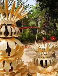 Pole lot of fun: The bamboo is decorated with various accessories, from fruit to crafted leaves. (