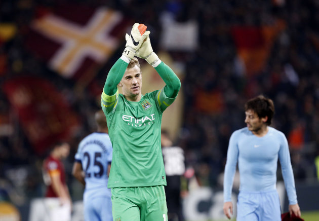 Manchester City's goalkeeper Joe Hart celebrates at the end of a Group E Champions League soccer match between Roma and Manchester City at the Olympic stadium in Rome, Italy, Wednesday Dec.10, 2014. Manchester City beat Roma 2-0. (AP Photo/Riccardo De Luca)