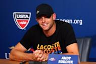 Andy Roddick gives a press conference announcing his retirement at the US Open in New York on Thursday. Roddick's surprise retirement from tennis Thursday on his 30th birthday ended an era for American tennis, sending the last US man to win a Grand Slam title to the showers after one final bow