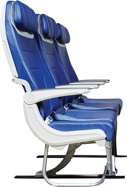 This undated photo provided by Southwest Airline shows a side view of seats on future Southwest planes. The airline announced Tuesday, April 14, 2015, that future planes will have seats that are a bit wider and C-shaped to give passengers in the next row a smidge more knee room. The BE Aerospace seats will start showing up on Southwest's new Boeing 737-800s in mid-2016 and the forthcoming 737-800 Max in 2017. (Southwest Airlines via AP)