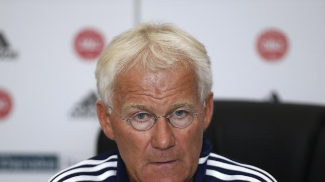 Denmark's coach Olsen speaks during a news conference in Ta' Qali