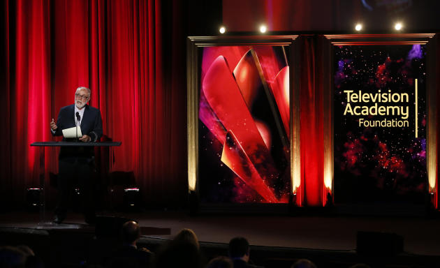Robert David Hall presents a College Television Award at the 35th College Television Awards, presented by the Television Academy Foundation at The Leonard H. Goldenson Theatre in the NoHo Arts Distric