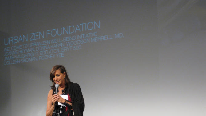 This April 2009 photo provided by Urban Zen shows fashion designer, Donna Karan, speaking at the Urban Zen Nutrition Forum in New York. Karan's husband, Stephan, died in 2001 of lung cancer. It's also when her Urban Zen Foundation was born, and it supports a program of integrative health therapy. (AP Photo/Urban Zen)