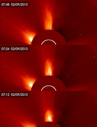 Three views over time of the coronal mass ejection (CME) released by the sun on Feb. 9, 2013 as seen by the Solar and Heliospheric Observatory (SOHO).