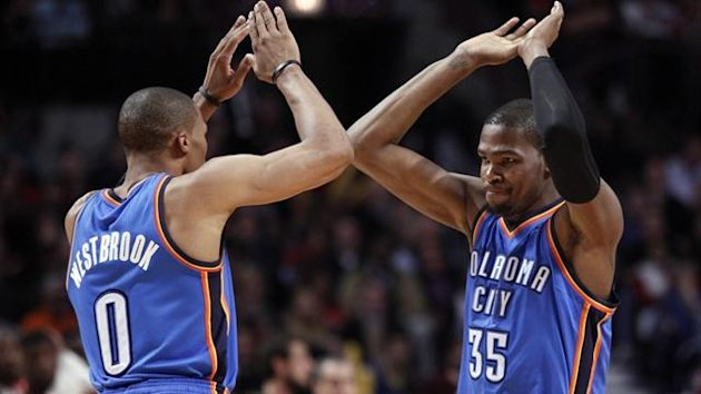Oklahoma City Thunder point guard Russell Westbrook and Kevin Durant (Reuters)