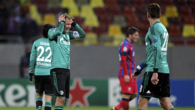Schalke 04's Howedes reacts on the pitch after their Champions League soccer match against Steaua Bucharest in Bucharest