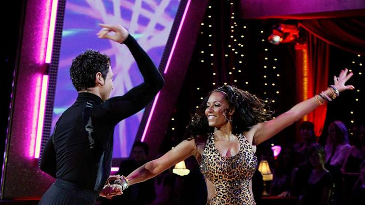 Maksim Chmerkovskiy  and Melanie Brown perform a dance in the 5th season of Dancing with the Stars.