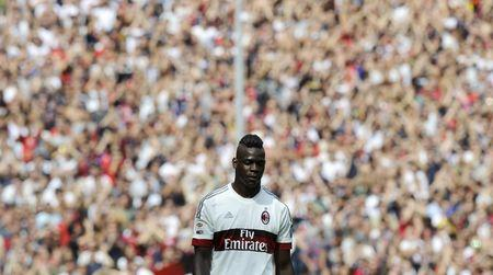 AC Milan's Mario Balotelli reacts during their Italian Serie A soccer match against Genoa in Genoa