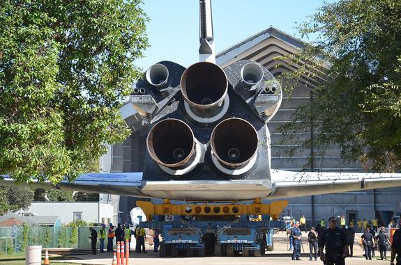 Space shuttle Endeavour is seen rolling into its new home, the Samuel Oschin Display Pavilion at the California Science Center in Los Angeles, on Sunday, Oct. 14, 2012.