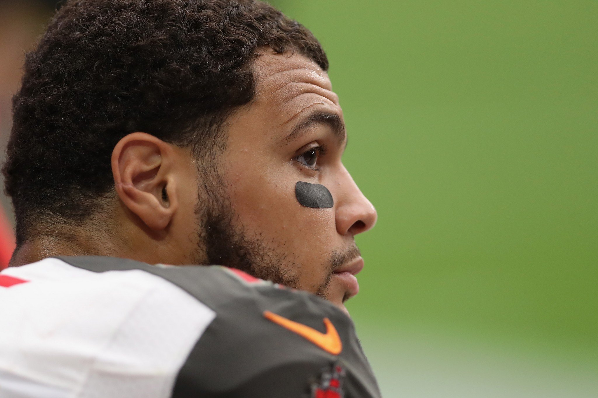 Tampa Bay Buccaneers receiver Mike Evans protested Donald Trump but said on social media he didn't vote. (Getty Images)
