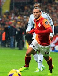 Galatasaray's Wesley Sneijder controls the ball against Besiktas on January 27, 2013. Big-spending Galatasaray will be looking to carry their strong Champions League group stage form into Wednesday's last 16 first-leg tie when they host a Schalke side low on confidence