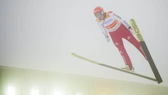 Eric Frenzel of Germany competes in the ski jumping event of the FIS Nordic Combined World Cup in Holmenkollen, Oslo, Norway
