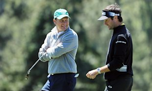 Jeff Knox and Bubba Watson during the third round of the 2016 Masters. (Getty Images)