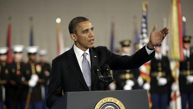 President Barack Obama gestures speaks during an Armed Forces Farewell Ceremony to honor outgoing Defense Secretary Leon Panetta, Friday, Feb. 8, 2013, at Joint Base Myer-Henderson Hall in Arlington, Va. (AP Photo/Pablo Martinez Monsivais)