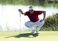 Ian Poulter during round one of the 94th PGA Championship August 9. Poulter was alone in fourth after shooting a 71 that matched Tiger Woods for the low of the day