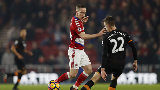 Hull City's Markus Henriksen in action with Middlesbrough's Adam Forshaw