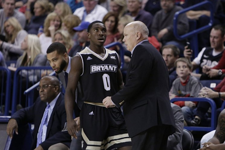 Bryant's Ikenna Ndugba lost track of the score at the worst possible time (AP)