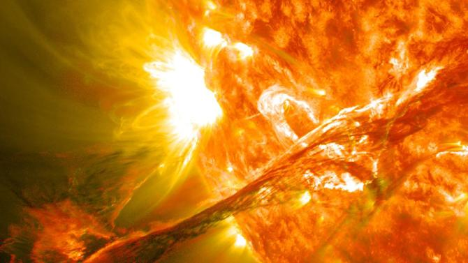 This image provided by NASA shows an image captured by NASA's Solar Dynamics Observatory of a blast of plasma streaming from the sun in August 2012. Scientists say a solar eruption was detected on March 5, 2013 and was headed toward Mars. NASA's Curiosity rover will postpone some activities but other Mars missions will operate normally.(AP Photo/NASA)