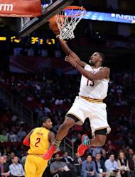 Tristan Thompson of the Cleveland Cavaliers and Team Chuck goes up for a shot in the BBVA Rising Stars Challenge 2013, part of the 2013 NBA All-Star Weekend, at the Toyota Center in Houston, Texas, on February 15, 2013