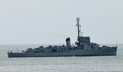 Philippine navy ship BRP Rajah Humabon leaves Subic Bay, the former US navy base, near the south China sea in July 2012. The Philippines said Wednesday it would refuse to stamp Chinese passports containing a map showing most of the China South Sea as belonging to China, as it stepped up protests over the controversial move